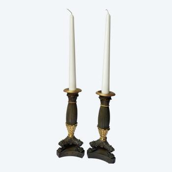 Pair of restoration period candlesticks circa 1840