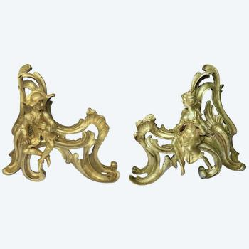 Pair of Louis XV style gilt bronze andirons representing a couple seated on rockery