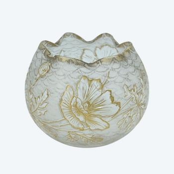 """François Théodore Legras - Montjoye - """"Chinese"""" shaped ball vase - Glass etched with acid and gold - France, circa 1900."""