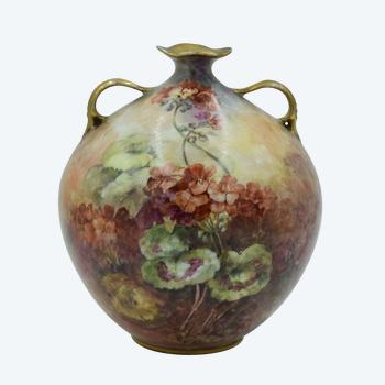 J. Marsay - Hand painted ball vase - Limoges porcelain - Signed - France, circa 1890/1900.