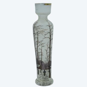 François Théodore Legras – Grand vase conique – Verre émaillé – France, vers 1900.
