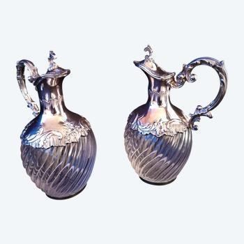 Ravissante paire d'aiguière fin XIXème orfèvre Vaguer