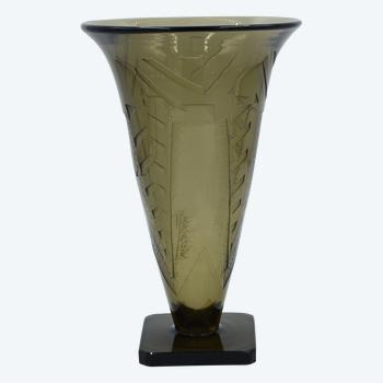 Veramé - Art-Deco-Vase - Rauchglas - Frankreich, um 1920/1940.