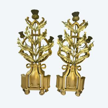 Paire de chenets en bronze doré chardon art nouveau