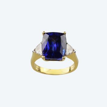 Ring mit Tansanit und Diamanten in 750 Gelbgold. Dyach.