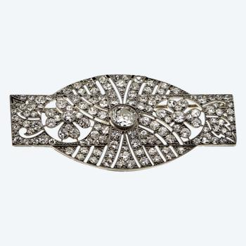 White gold brooch with Art Deco style diamonds