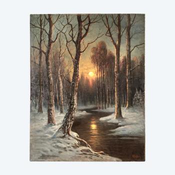 """Gemälde """"Mondnacht im Winterwald"""". Alfred Alexander Gelhar (1875-1948)."""