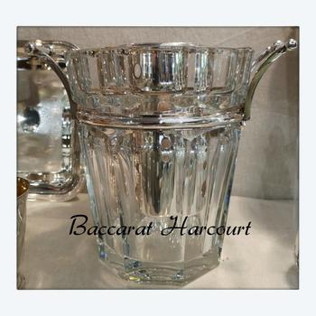 Champagne bucket / cooler in crystal Harcourt pattern signed Baccarat