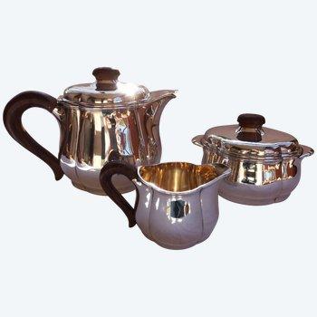 Art-Deco-Teeservice aus massivem Silber, Punschhalsstütze Goldsmith Fouquet-Lapar