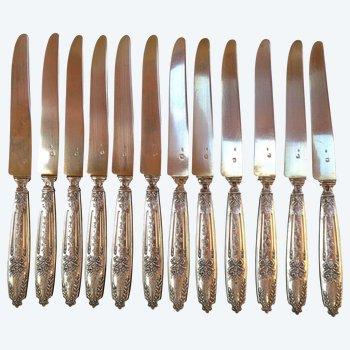 12 silver dessert knives punch neck brace goldsmith Edouard Pasquet early twentieth