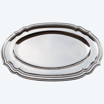Oval and hollow dish in solid silver neck brace Orfèvrerie TETARD Frères