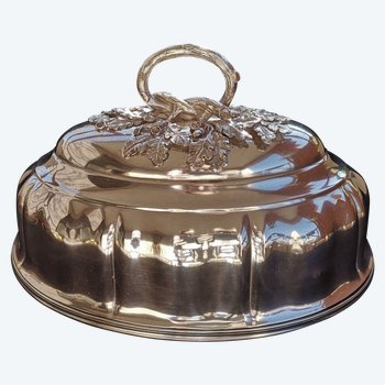 Große ovale Glocke aus silbernem Metall signiert Christofle Ende neunzehnten