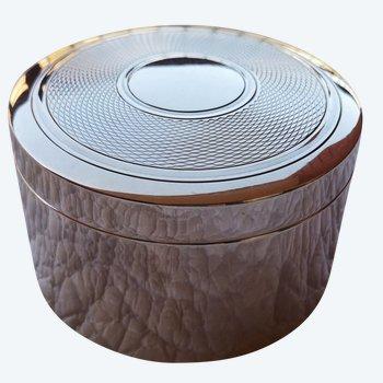 Runde Schachtel aus silberner Metallkreation PUIFORCAT Boutique