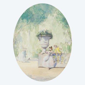 Aquarell galante Szene in einem Garten signiert Drisa