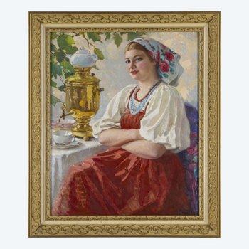 """Gemälde """"Mädchen mit einem Samowar"""" M.Maksolly"""