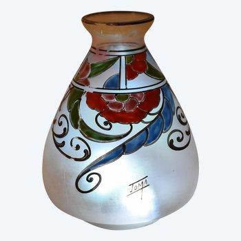 Joma - Art Deco Vase - Opaleszierendes Glas
