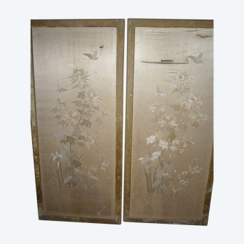 Pair of 19th century Chinese embroidered panels