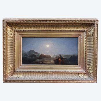 Bord de mer au clair de lune par Amédée Rosier  1831-1914