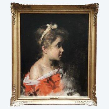 Portrait d'une petite fille par Joseph BAIL  1862-1921