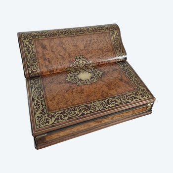 TAHAN writing case in precious wood veneer and chiseled brass inlay - boulle marquetry - NAPOLEON III