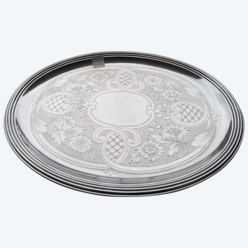 Nice small oval Christofle tray in silver metal France