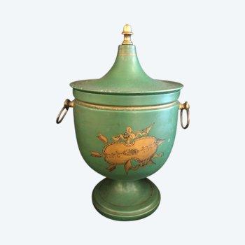 Urne aus lackiertem Metall aus dem 19. Jahrhundert