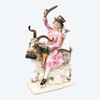"""La figurine en porcelaine """"Le tailleur du comte Brühl sur une chèvre"""""""