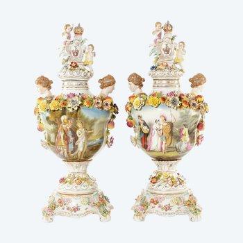 "A pair of ""Dresden"" porcelain vases"