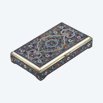 Neo-Russian style silver and enamel box
