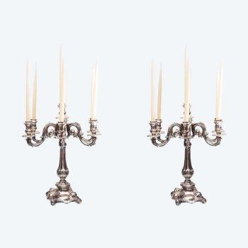 Ein Paar silberne Vercelli-Kandelaber