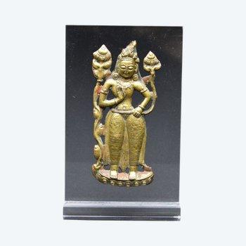 Tibet / Darstellung von Bodhisattva Padmapani in geprägtem Kupfer / 18. - 19. Jahrhundert