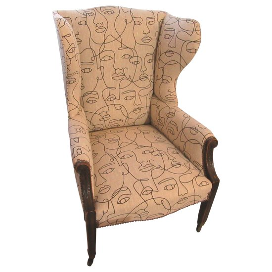 Wing chairs end of 19th century Totally re-upholstered in the old