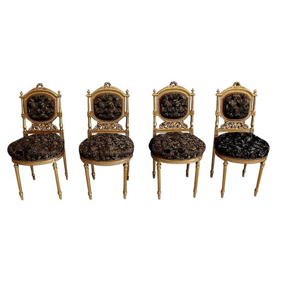 Suite of 4 Chairs in Golden Wood, Louis XVI style, Napoleon III period - 19th century