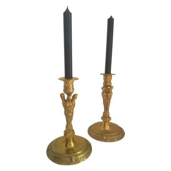 Bougeoir  - Chandelier en bronze doré , ciselé - 4 cariatides - Bel état
