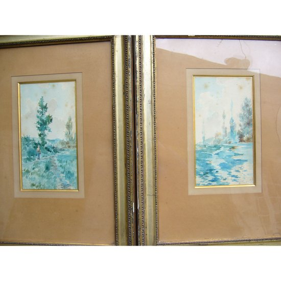 Pair of early 20th century watercolors signed Carpentier