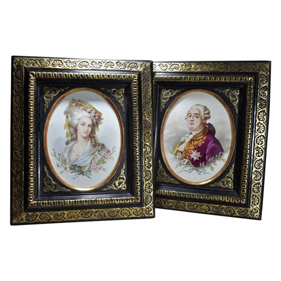 Pair Of Faience Plate Marie-Antoinette And Louis XVI 19th