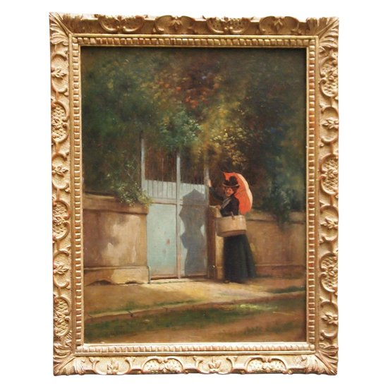 Woman with a parasol in front of a portal by Charles Auguste CORBINEAU
