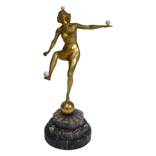 Balltänzer Bronze Patina Golden und Silber 1930 Art Deco