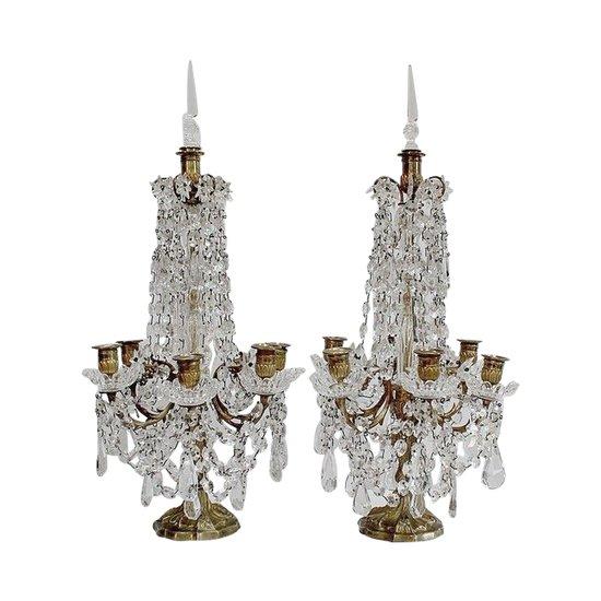 Paar Girandolen aus Kristall und Bronze mit 6 Zweigen, Napoleon III. Periode - 1. Teil des 19. Jahrhunderts