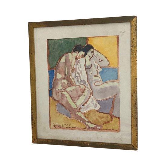 """Jacques OUDOT (1938-) - """"Le Couple Nu"""" - Aquarell signiert mit Senden an Jef FRIBOULET"""
