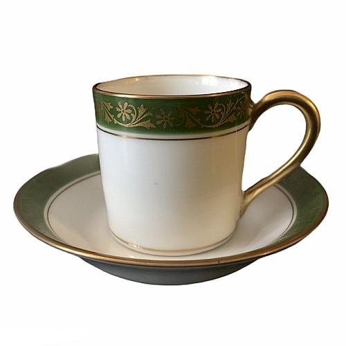 Tasse Porcelaine Moka Style Empire vert et doré