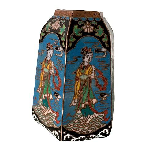 Hexagonal vase in cloisonné enamels china