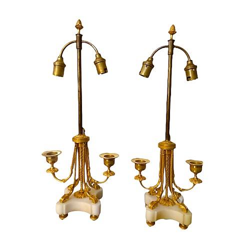Pair Of Candlesticks Candelabra Electrified Gilt Bronze Marble Louis XVI Style