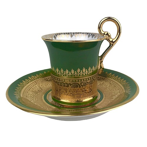 Empire Style Porzellanbecher Grün & Gold