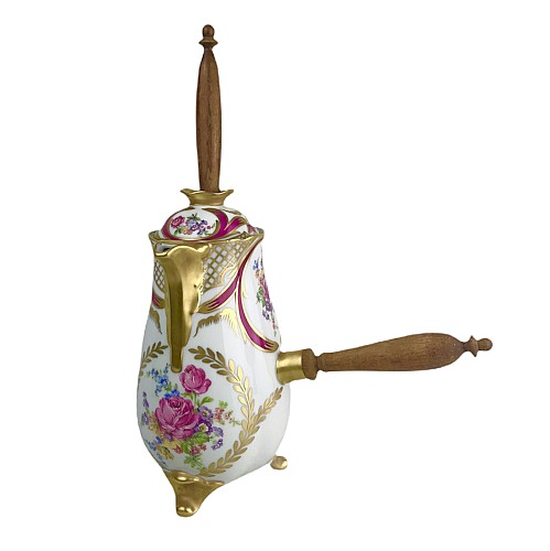 Porcelain chocolate maker with polychrome decoration, wooden handle and moussoir