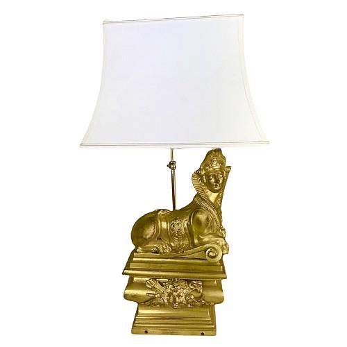 Sphinxlampe aus vergoldeter Bronze