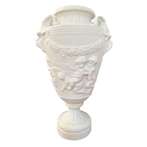 Biscuit porcelain baluster vase after Clodion
