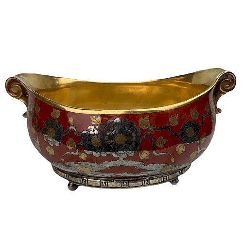 Red and gold porcelain bowl planter with chrysanthemum decoration, silver base China