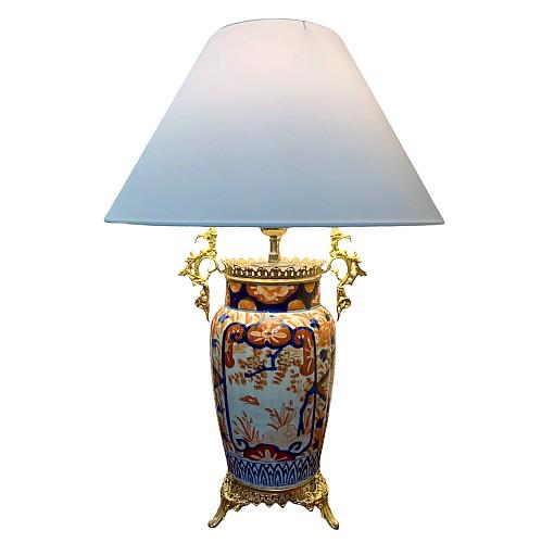 Lampe Vase Imari Porcelaine Japon Bronze Doré