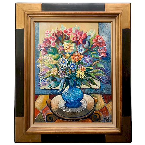 Oil on canvas Pajo still life bouquet of flowers